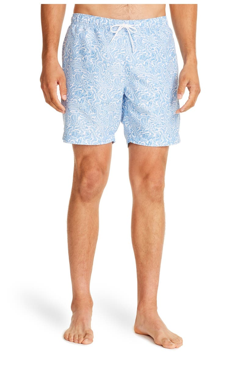 CONSTRUCT Light Blue Abstract Print Drawstring Swimming Trunks, Main, color, LT BLUE