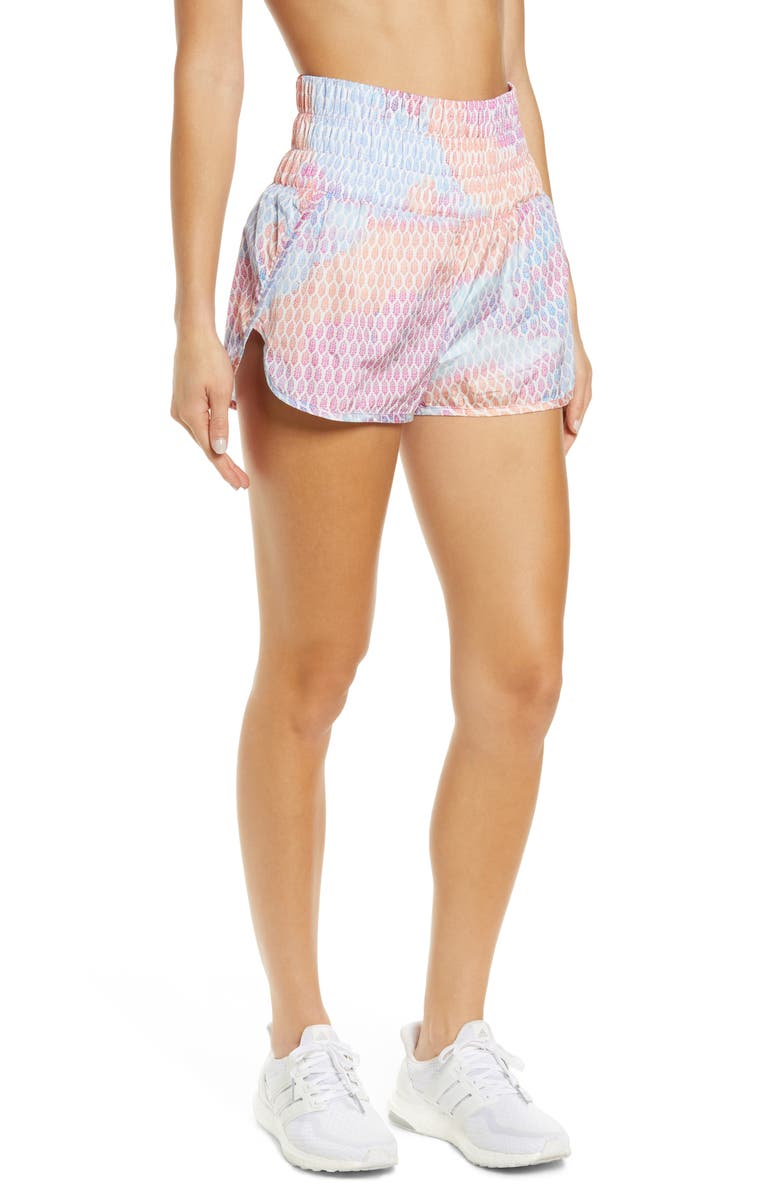 FREE PEOPLE FP MOVEMENT Free People FP Printed Way Home Shorts, Main, color, RAINBOW