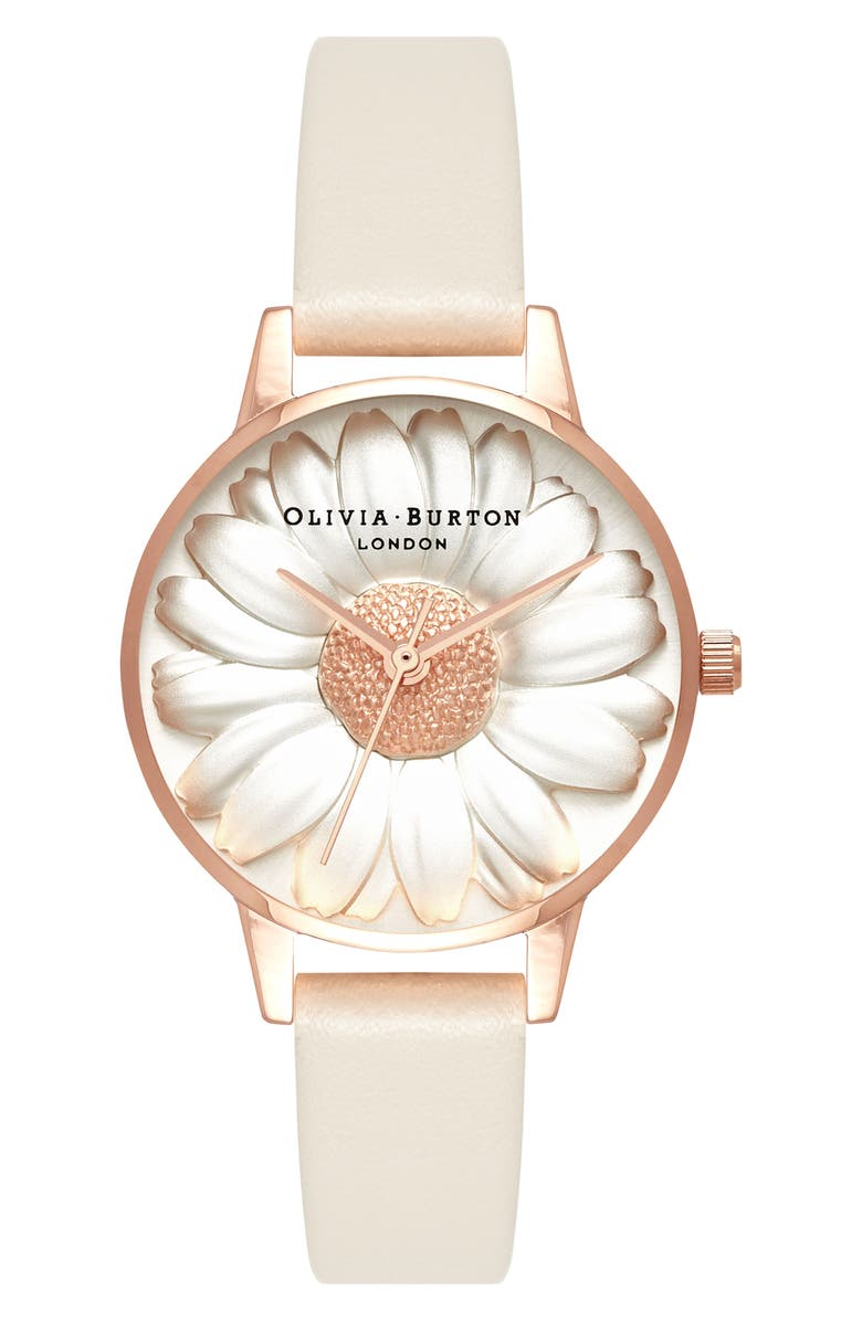 OLIVIA BURTON 3D Daisey Faux Leather Strap Watch, 30mm, Main, color, 259
