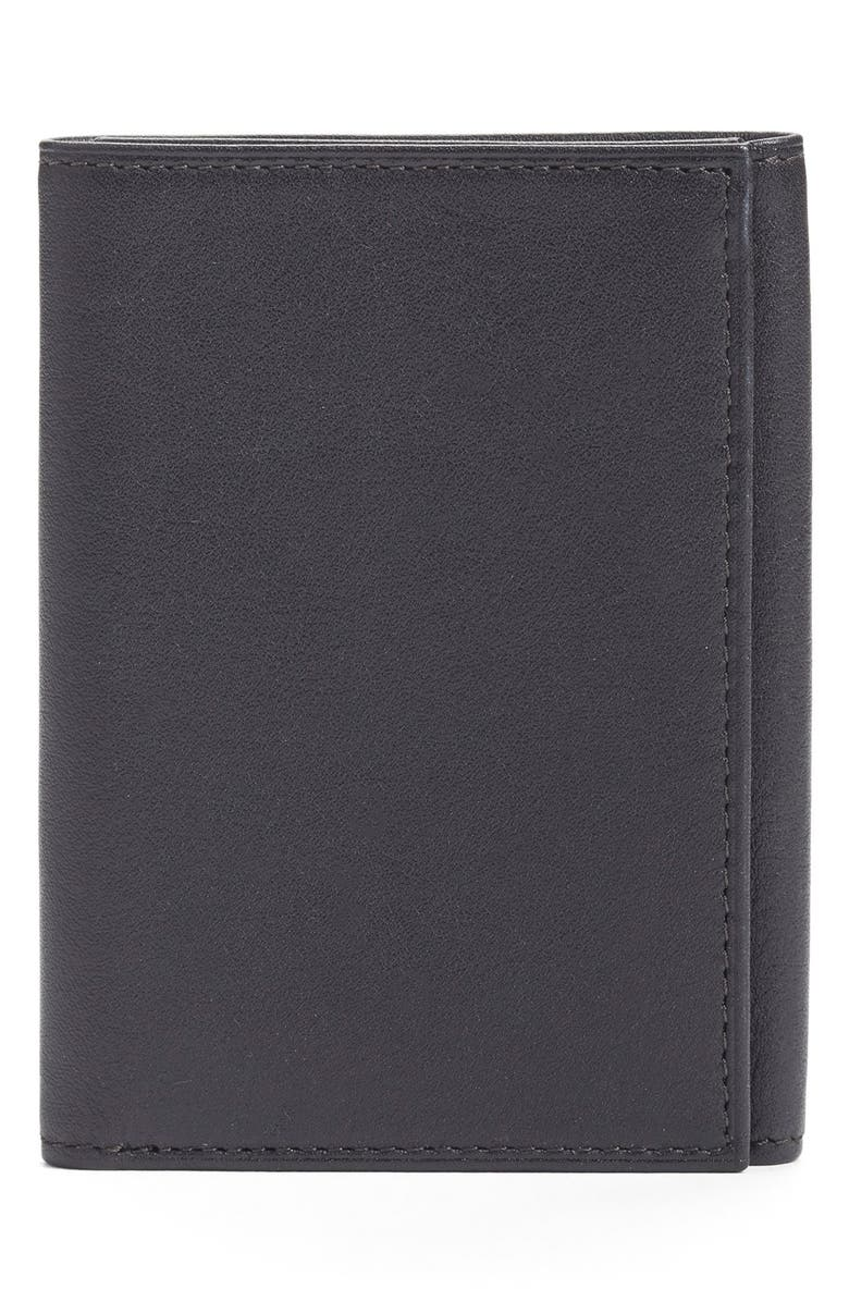 BOSCA Leather Trifold Wallet, Main, color, Black