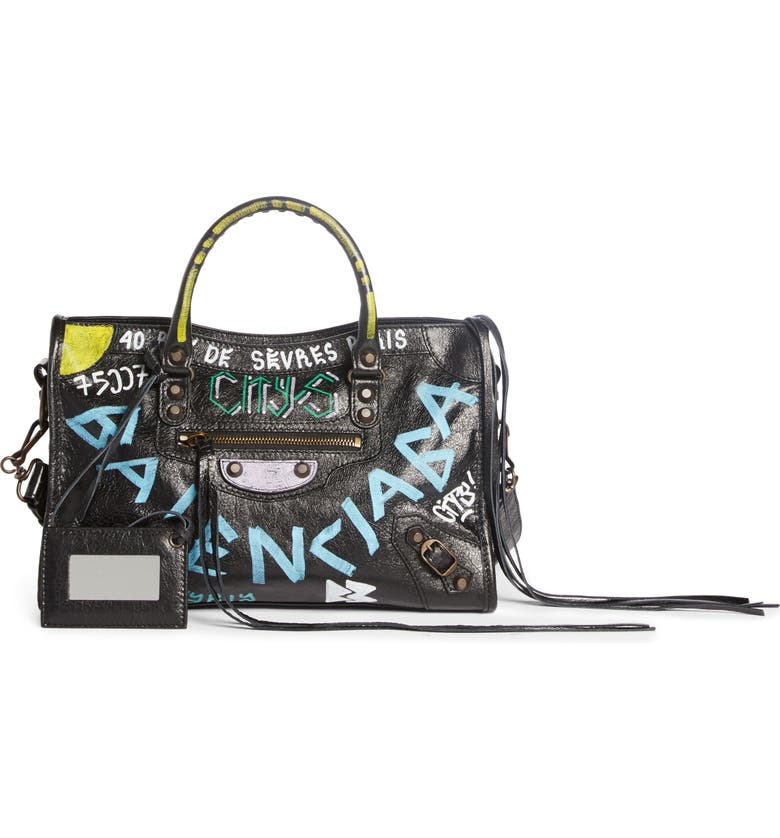 BALENCIAGA Small City Graffiti Leather Tote, Main, color, 001