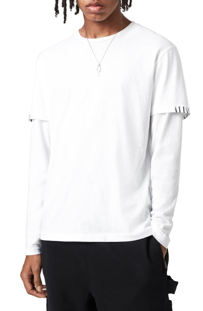 ALLSAINTS Haven Layered Long Sleeve T-Shirt, Main, color, OPTIC WHITE
