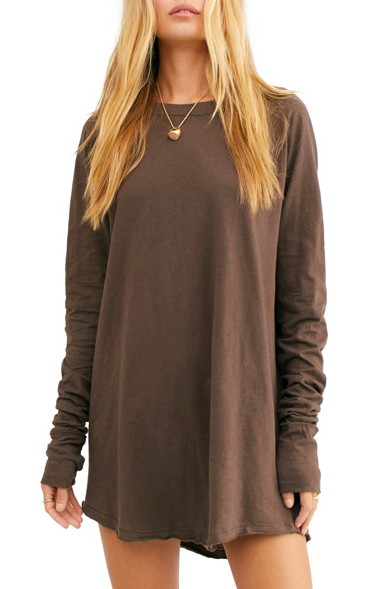 FREE PEOPLE Arden Extra Long Cotton Top, Main, color, LITE BARK