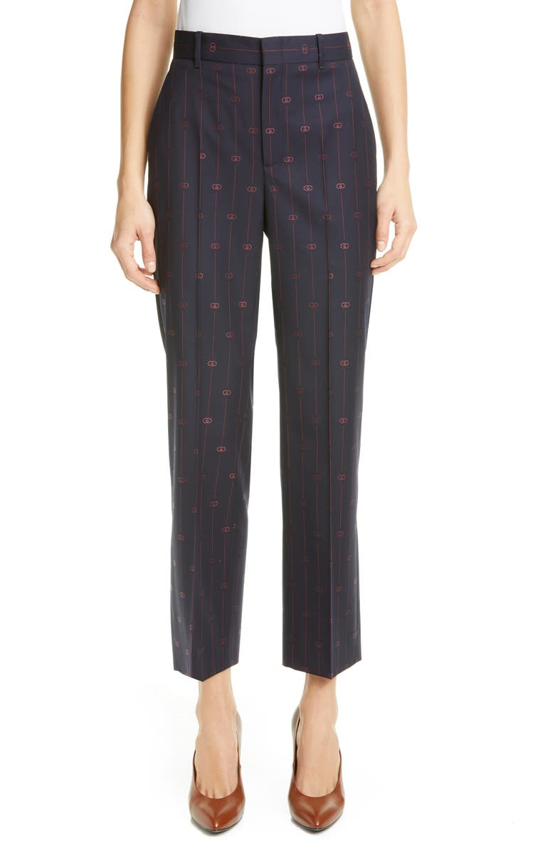 GUCCI GG Pinstripe Straight Leg Crop Wool Pants, Main, color, BLUE/ RED
