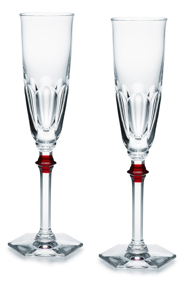 BACCARAT Harcourt Eve Set of 2 Lead Crystal Flutes, Main, color, CLEAR/ RED