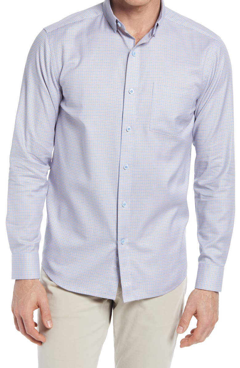 JOHNSTON & MURPHY Geometric Button-Up Shirt, Main, color, TAN/ BLUE