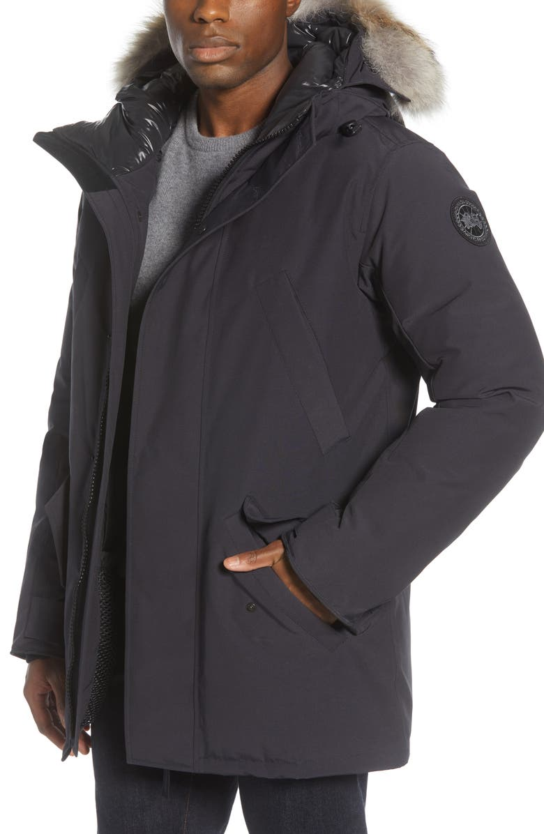 CANADA GOOSE Black Label Edgewood 625 Fill Power Down Parka with Genuine Coyote Fur Trim, Main, color, NAVY