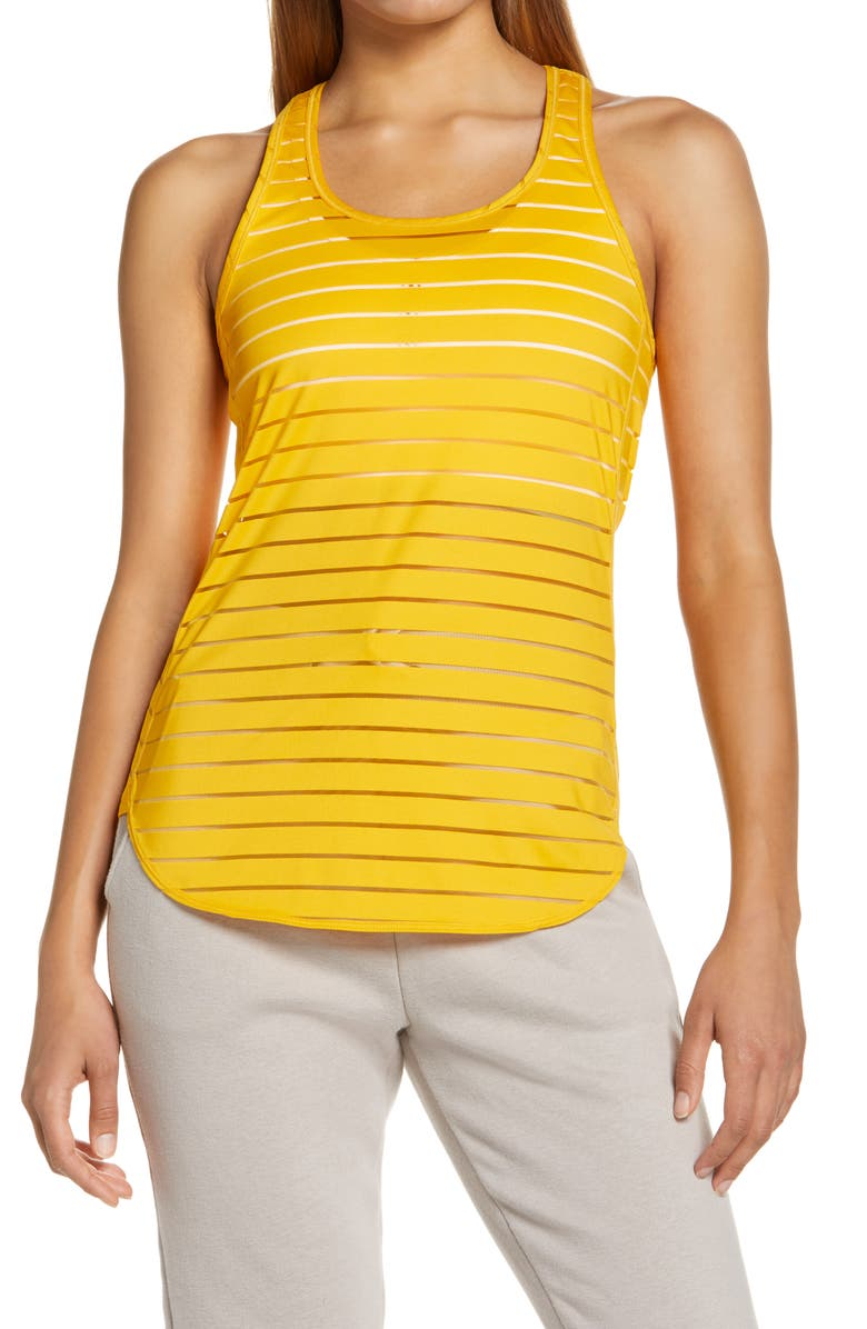 ZELLA Burnout Stripe Racerback Tank, Main, color, YELLOW AUTUMN