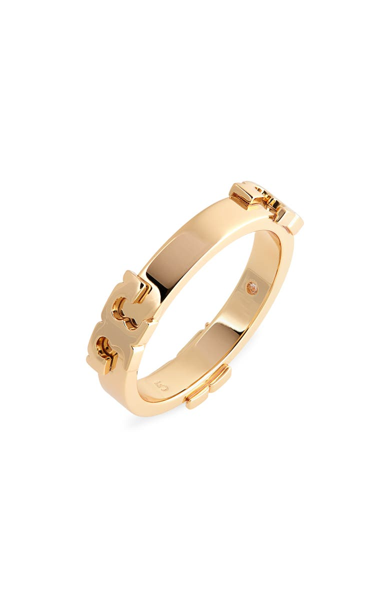TORY BURCH Serif-T Band Ring, Main, color, TORY GOLD / TORY GOLD