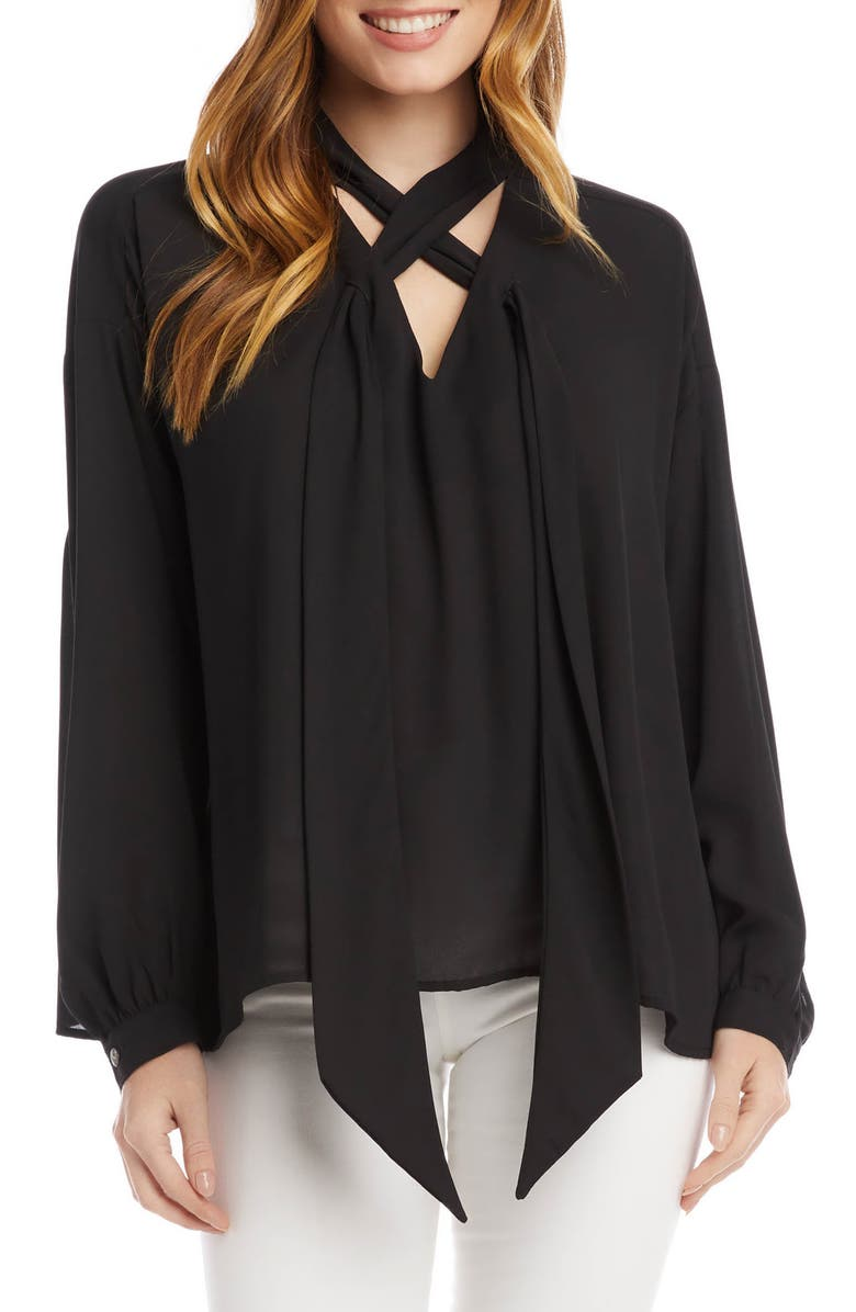 KAREN KANE Tie Neck Blouse, Main, color, 001