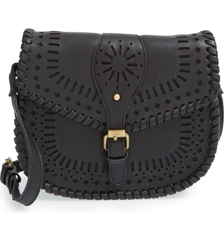 SOLE SOCIETY 'Kianna' Perforated Faux Leather Crossbody Bag, Main, color, 001