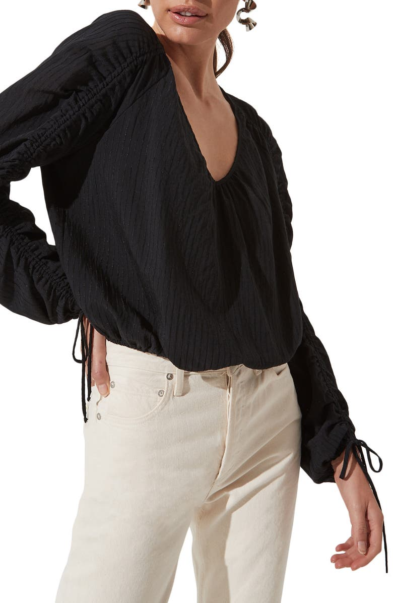 ASTR THE LABEL Ruched Long Sleeve Top, Main, color, BLACK
