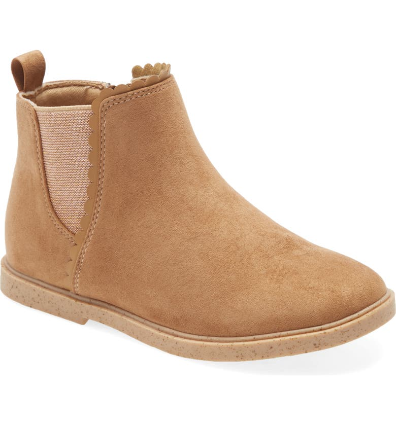 TUCKER + TATE Scalloped Chelsea Boot, Main, color, COGNAC FAUX SUEDE