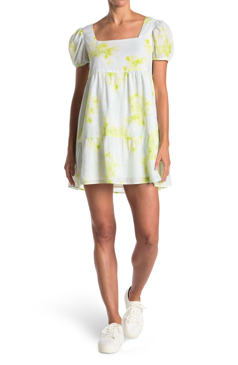 ABOUND Puff Sleeve Tiered Dress, Main, color, WHITE- GREEN DYE SPIRAL