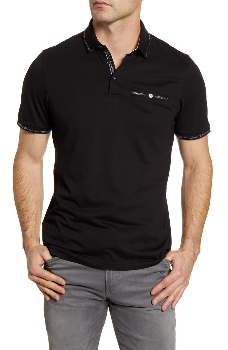 TED BAKER LONDON Tortila Slim Fit Tipped Pocket Polo, Main, color, BLACK