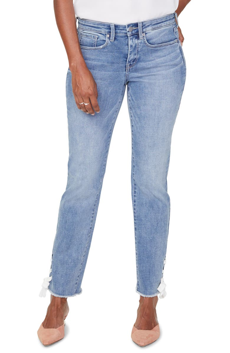 NYDJ Sheri High Waist Lace-Up Cuff Slim Ankle Jeans, Main, color, COHEED