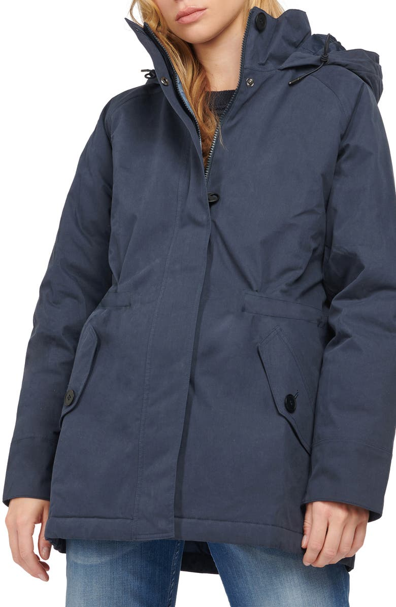 BARBOUR Collywell Waterproof Hooded Raincoat, Main, color, NAVY/ DK CHAMBRAY