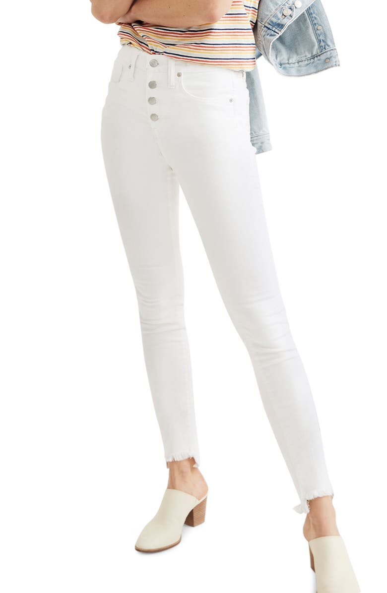 MADEWELL 10-Inch High Waist Button Front Ankle Skinny Jeans, Main, color, 100