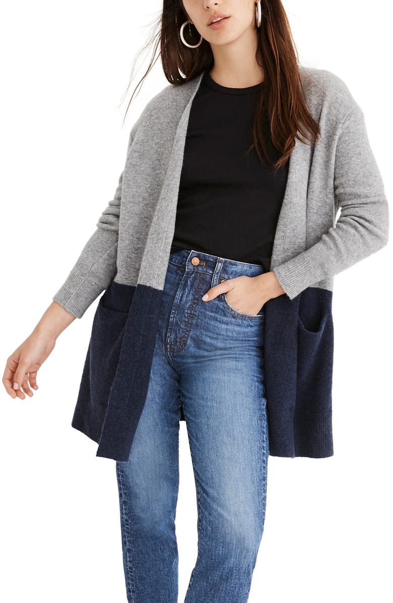 MADEWELL Ryder Colorblock Cardigan Sweater, Main, color, 020