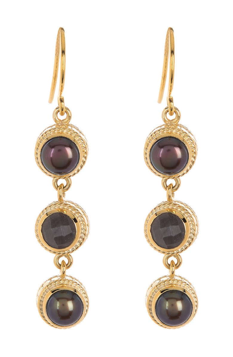 ANNA BECK 18K Yellow Gold Plated Sterling Silver Bezel Set Blue Pearl & Faceted Pyrite Drop Earrings, Main, color, GOLD/ BLUE