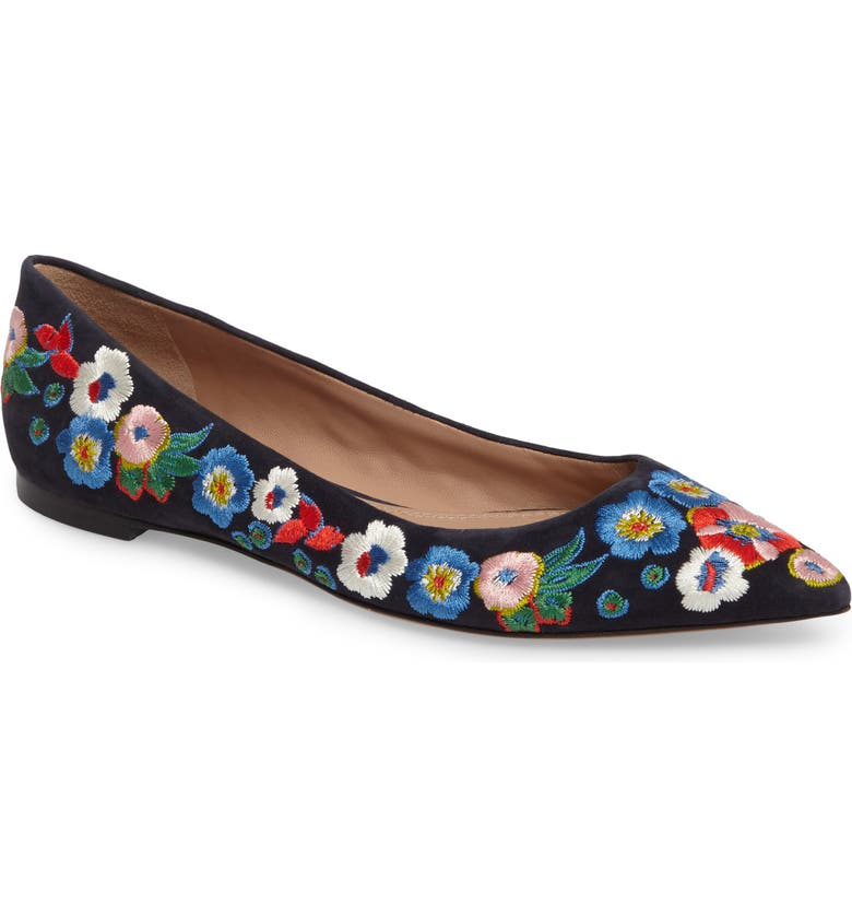 TORY BURCH Rosemont Flower Embroidered Flat, Main, color, TORY NAVY/ PANSY BOUQUET
