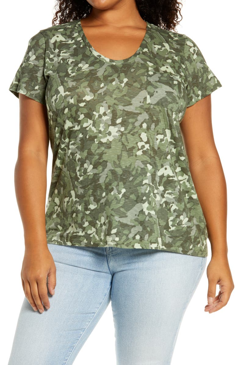 CASLON<SUP>®</SUP> Rounded V-Neck Tee, Main, color, GREEN FLORAL CAMO
