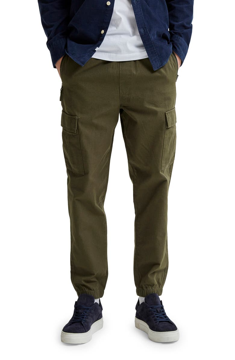 SELECTED HOMME Noah Organic Cotton Cargo Joggers, Main, color, FOREST NIGHT