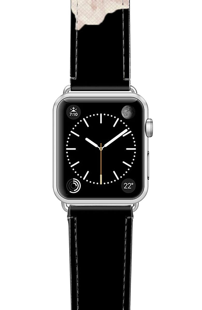 CASETIFY Sweet Pea Saffiano Faux Leather Apple Watch<sup>®</sup> Strap, Main, color, BLACK/ FLORAL/ SILVER