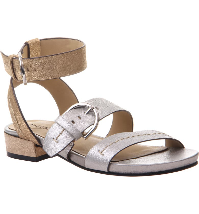 NAKED FEET Zeke Ankle Strap Sandal, Main, color, SILVER LEATHER/ SILVER