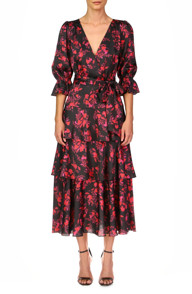 ML MONIQUE LHUILLIER Floral Tiered Faux Wrap Dress, Main, color, JET POPPIES