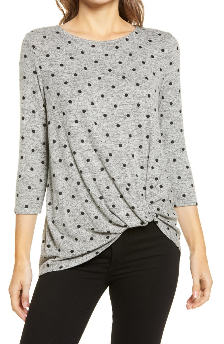 GIBSONLOOK Gibson Cozy Twist Front Pullover, Main, color, HEATHER GREY DOT