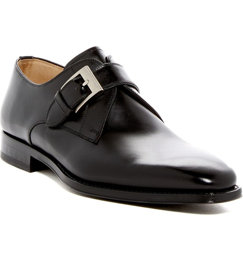 MAGNANNI Tudanca Leather Buckle Loafer - Wide Width Available, Main, color, BLACK
