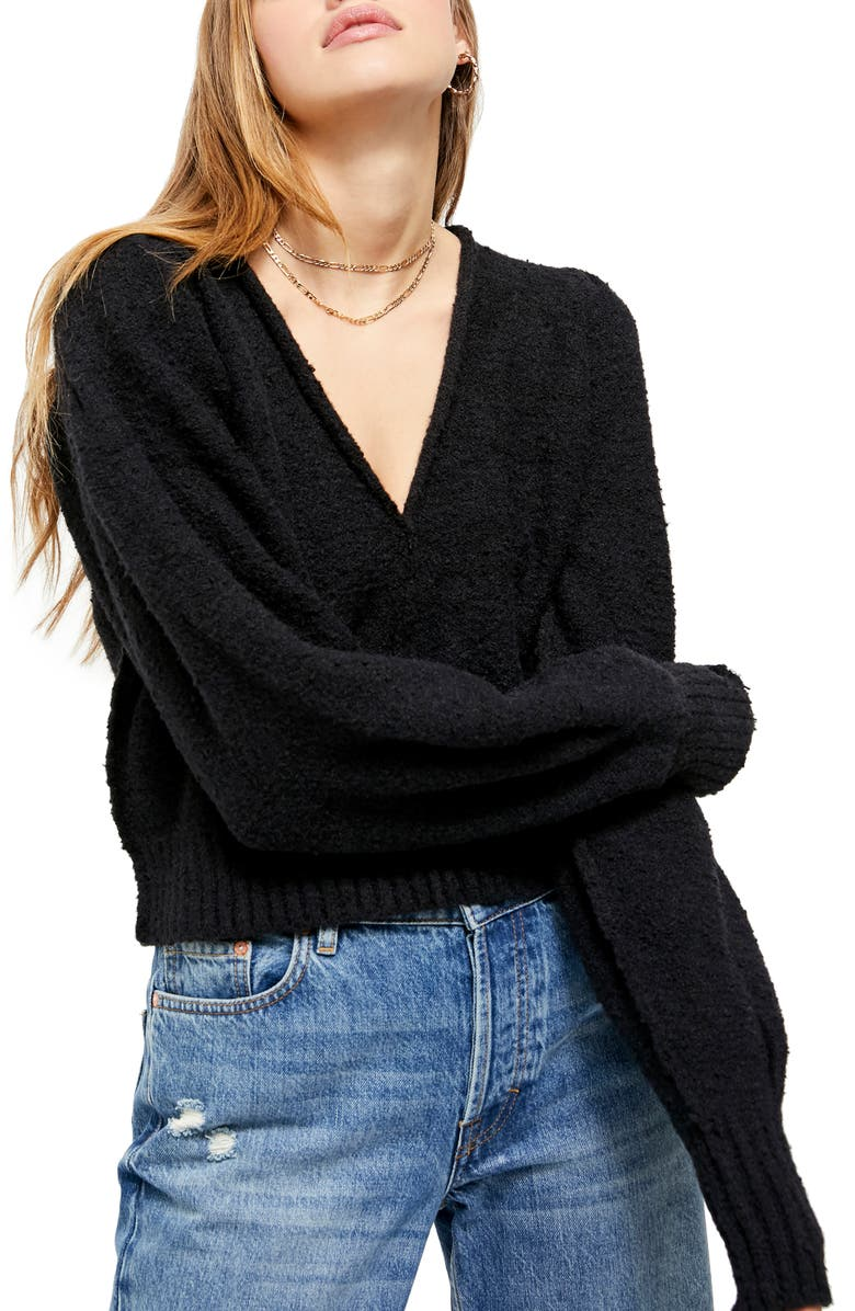 FREE PEOPLE Reverie V-Neck Sweater, Main, color, 001