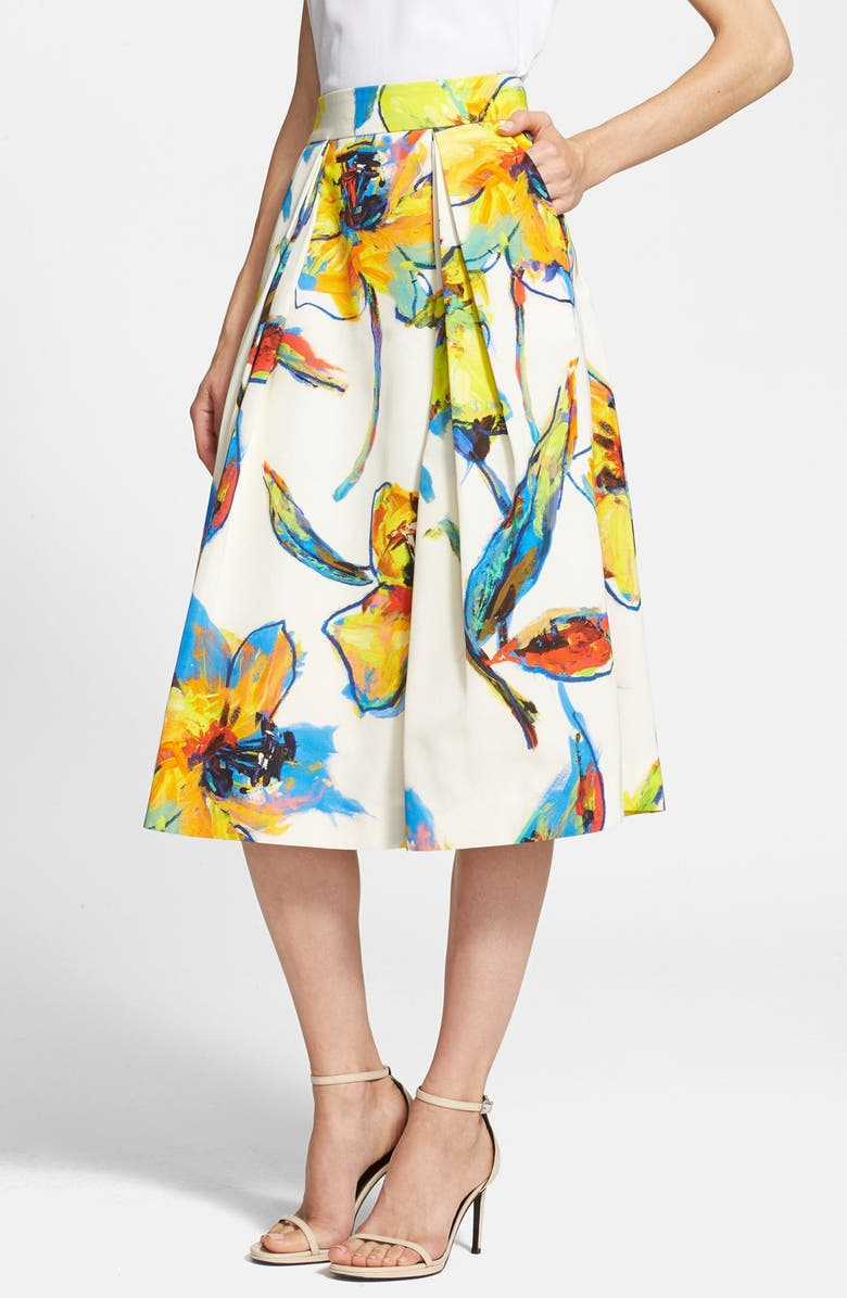 MILLY 'Luna' Floral Print Pleated Midi Skirt, Main, color, 150