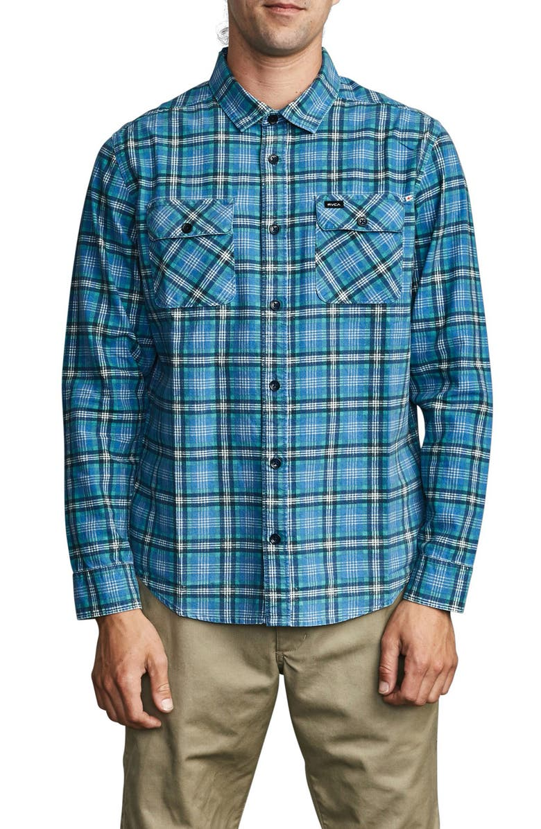 RVCA Panhandle Plaid Long Sleeve Flannel Button-Up Shirt, Main, color, 424