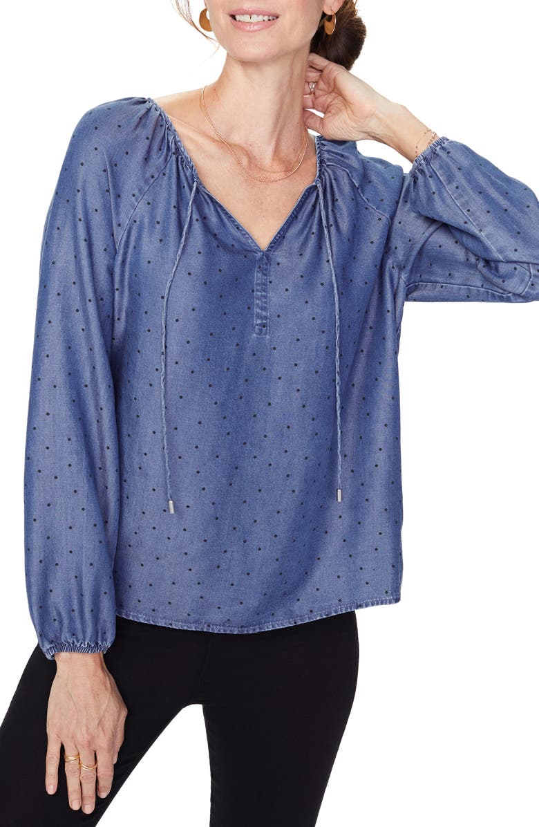 NYDJ Peasant Blouse, Main, color, SPECKLED DOT
