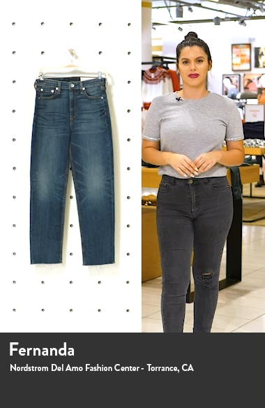 Nina High Waist Raw Hem Straight Leg Jeans, sales video thumbnail