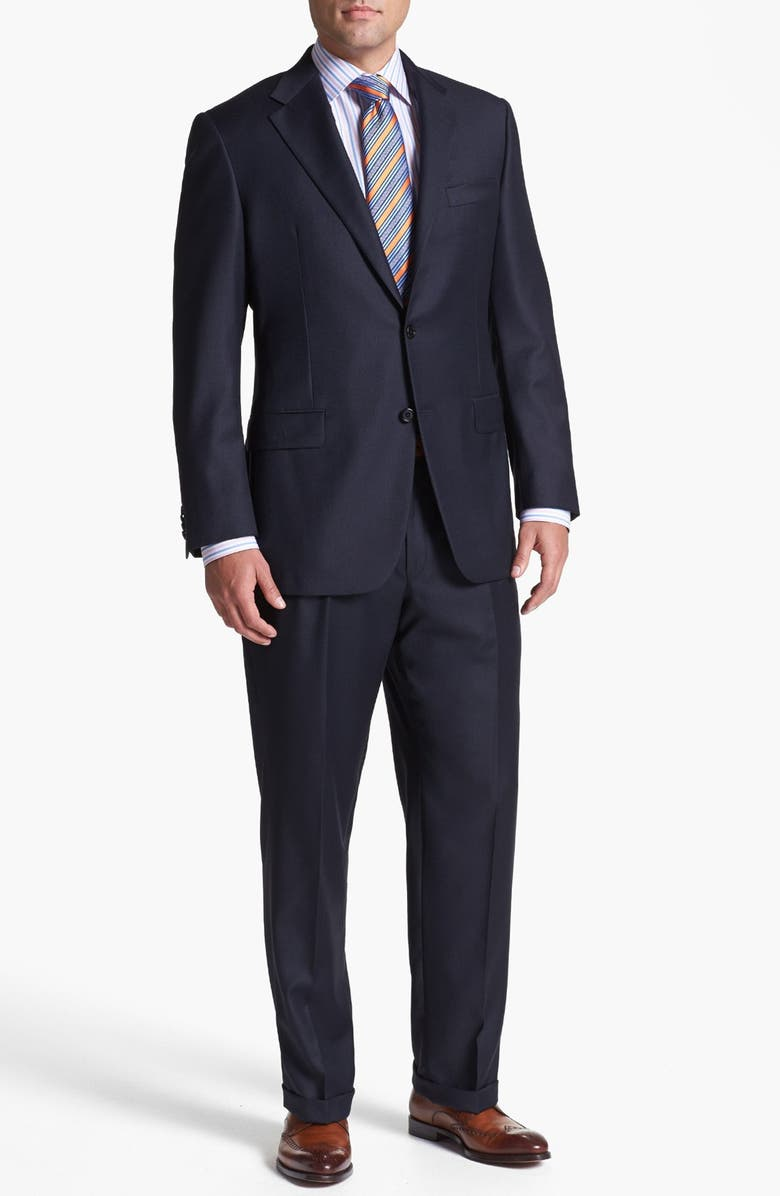 HICKEY FREEMAN Navy Worsted Wool Suit, Main, color, 410