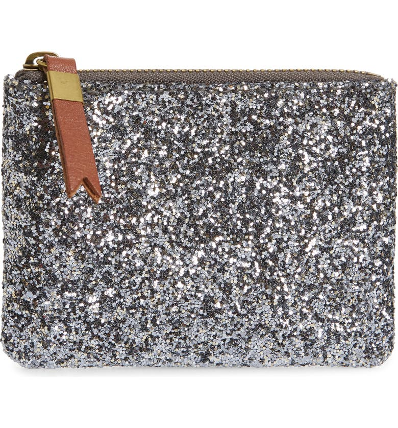 MADEWELL The Leather Pouch Glitter Clutch, Main, color, 045