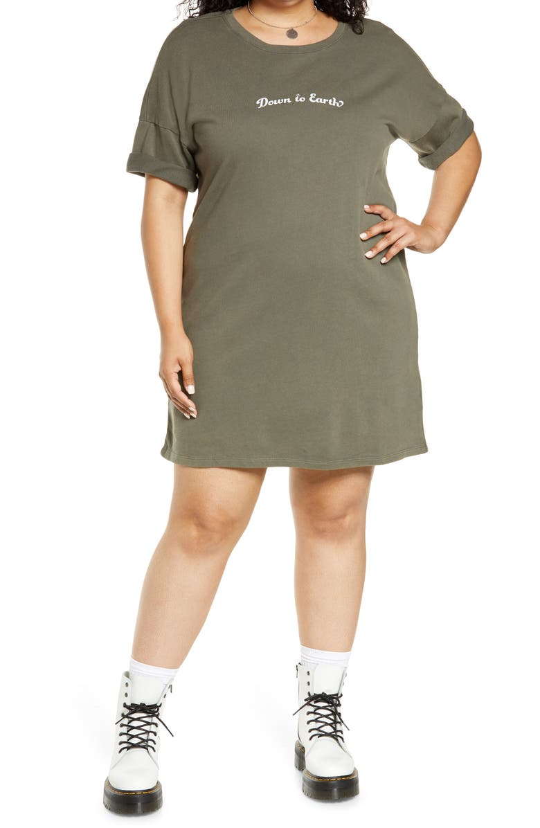 BP. Graphic T-Shirt Dress, Main, color, GREEN DOWN TO EARTH