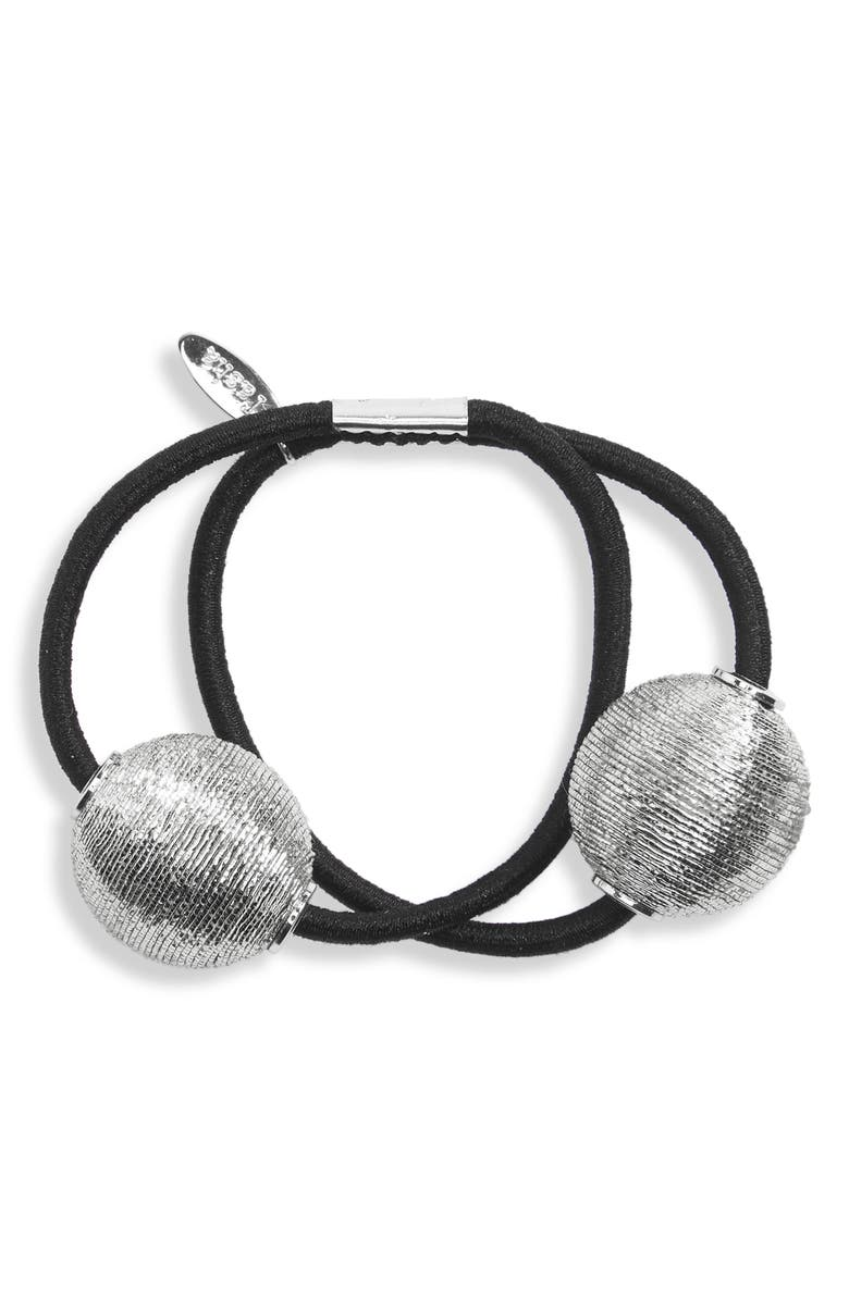 TASHA Pearly Bead Double Ponytail Holder, Main, color, SILVER