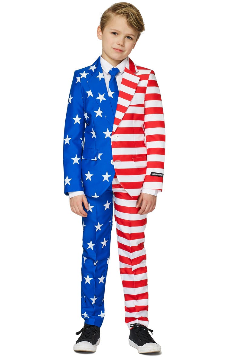 SUITMEISTER Kids' USA Flag Two-Piece Suit with Tie, Main, color, MISCELLANEOUS