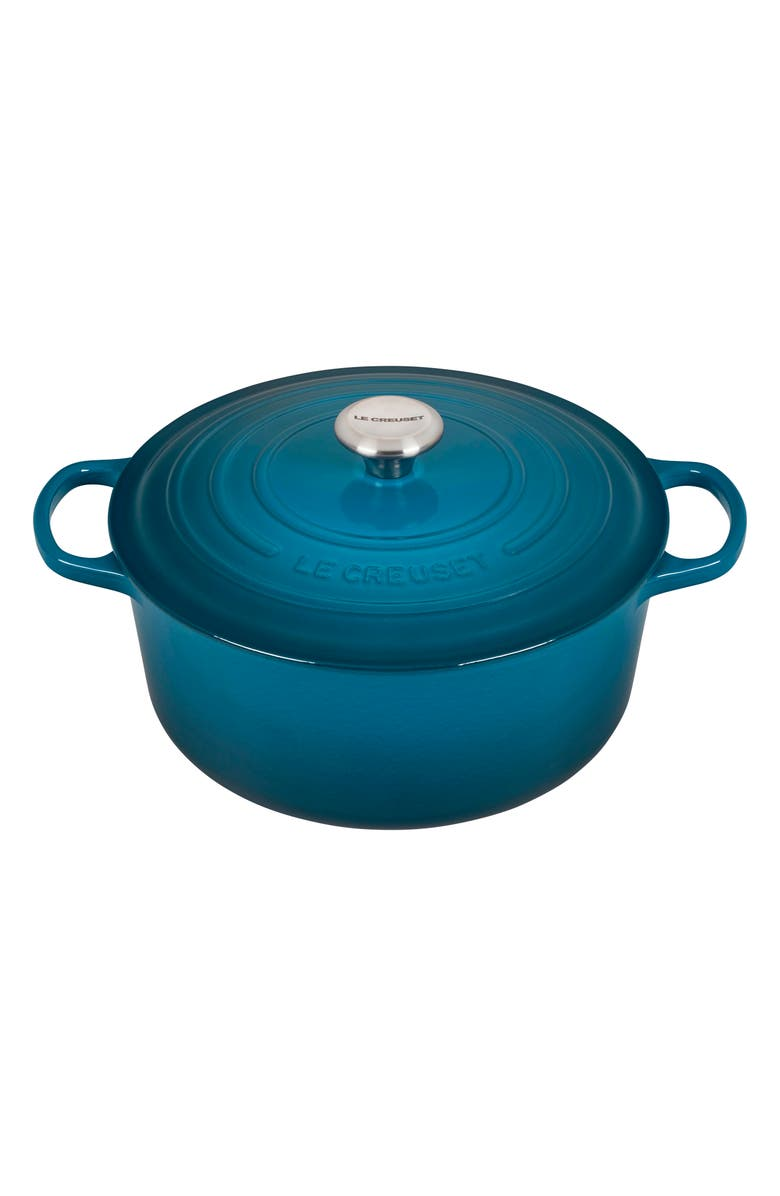 LE CREUSET Signature 7.25-Quart Round Enameled Cast Iron Dutch Oven, Main, color, DEEP TEAL