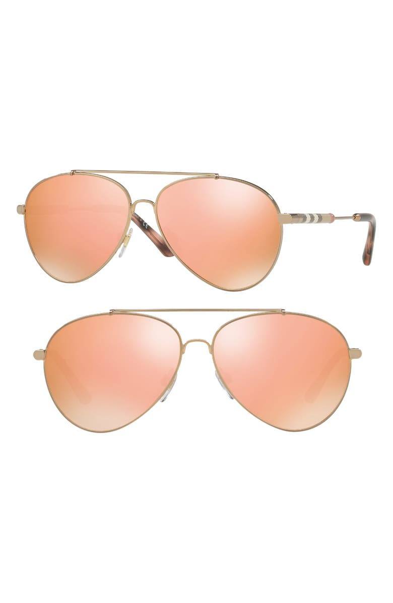BURBERRY 57mm Mirrored Aviator Sunglasses, Main, color, GOLD/ BROWN