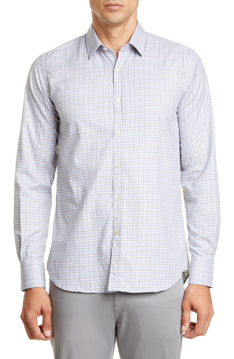 CANALI Slim Fit Check Button-Up Sport Shirt, Main, color, 300