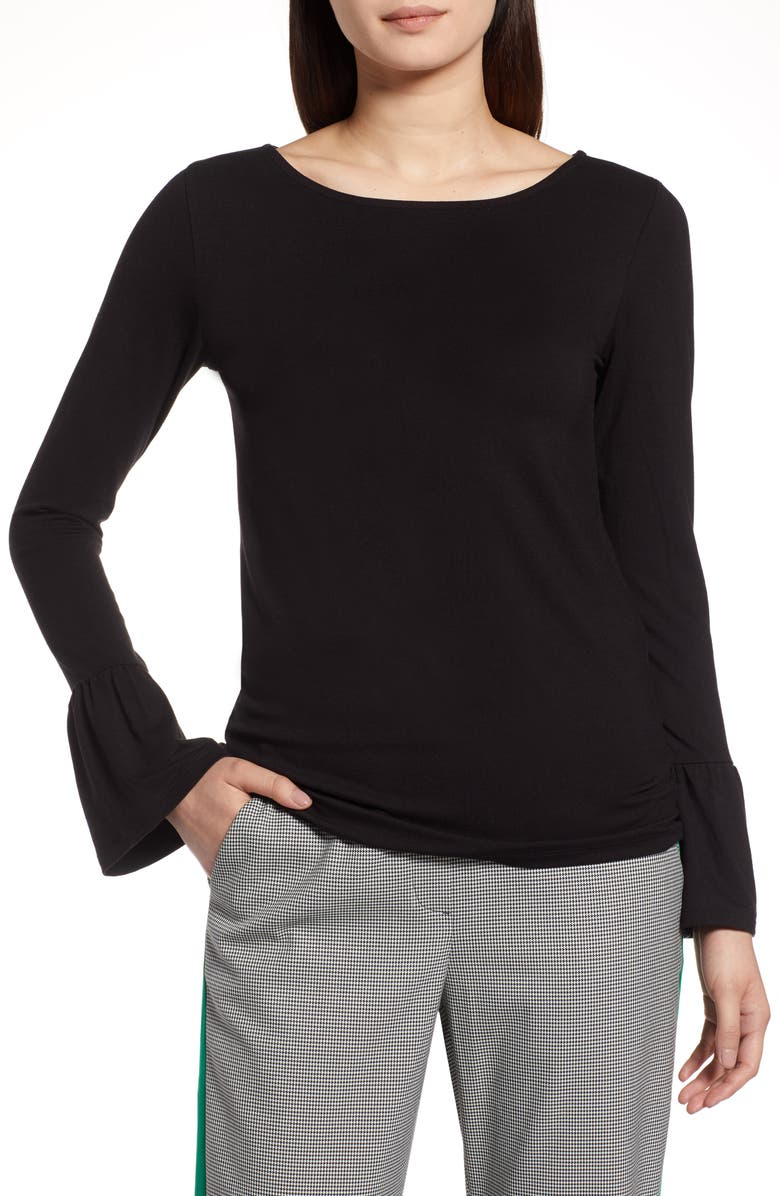 HALOGEN<SUP>®</SUP> Bell Sleeve Knit Top, Main, color, Black