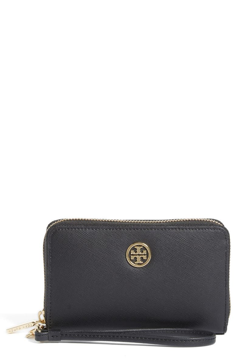 TORY BURCH 'Robinson' Wristlet Wallet, Main, color, 001