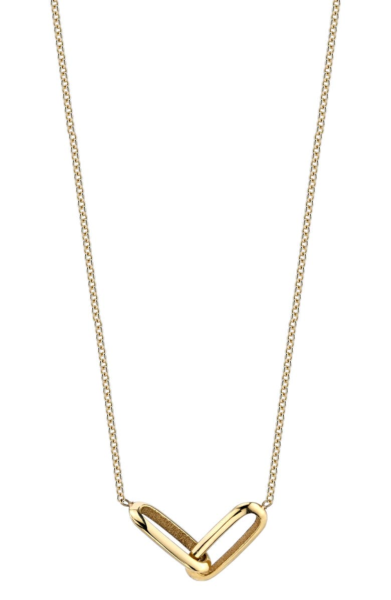 LIZZIE MANDLER FINE JEWELRY Linked Station Necklace, Main, color, YELLOW GOLD