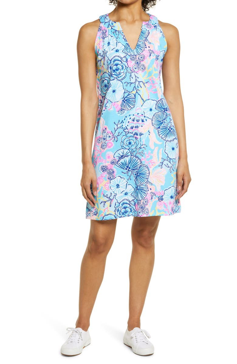 LILLY PULITZER<SUP>®</SUP> Ross Print Shift Dress, Main, color, BALI BLUE ONCE UPON A TIDE