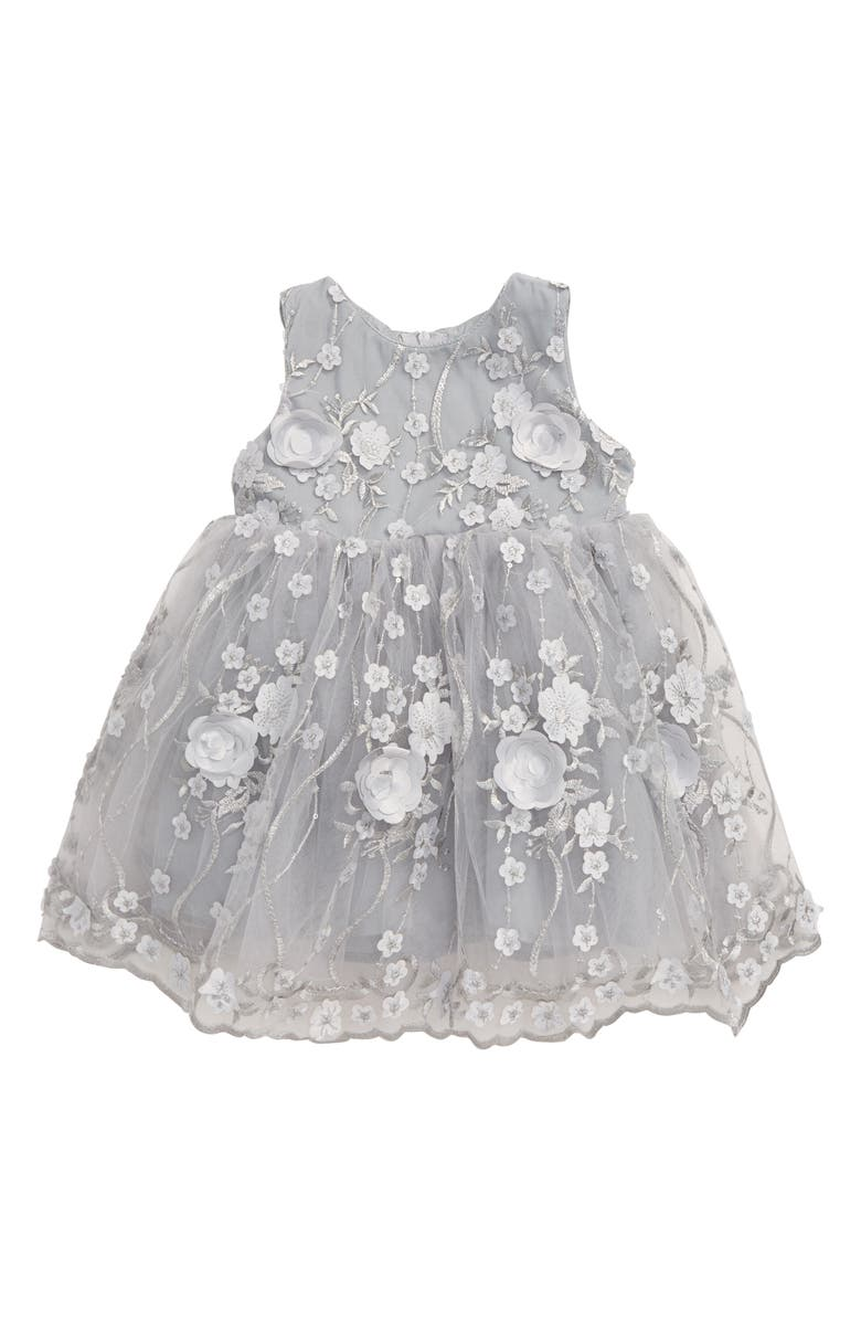 POPATU Floral Appliqué Scalloped Tulle Dress, Main, color, SILVER